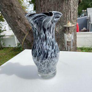 Vintage Hand Blown Glass Spotted Black Gray And White Vase Mottled Ribboned Edge